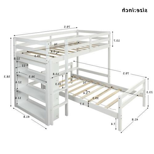 Solid Wood Twin Bunk Storage Shelves US