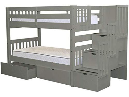 Bedz King Stairway Beds Twin over with 3 the Steps Under Bed Drawers,