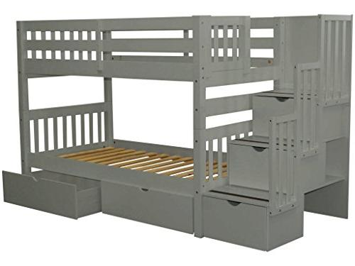 Bedz King Stairway Beds Twin over Twin with in the and 2 Under Drawers,
