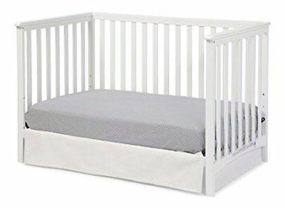 Storkcraft Hillcrest Fixed Convertible Crib, White, Converts to Bed