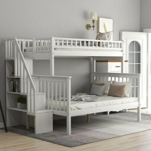 twin over full bunk bed with shelves