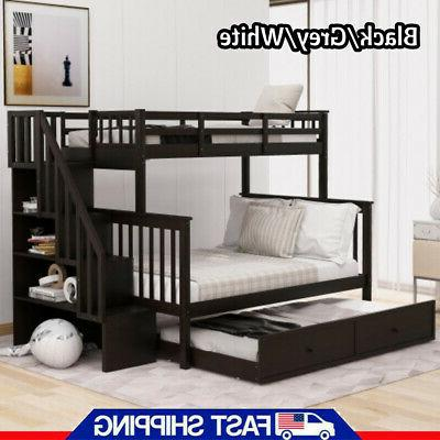 Gray Twin Over Full Bunk Beds Loft Bed Twin Bed Storage Bed