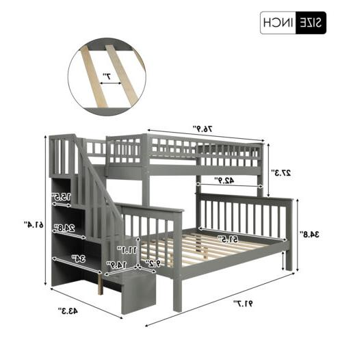 Twin Over Beds Kids Adult Wood Loft with Shelves for