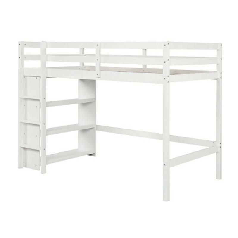 Twin over Twin Bed with Shelves White, With US Popular