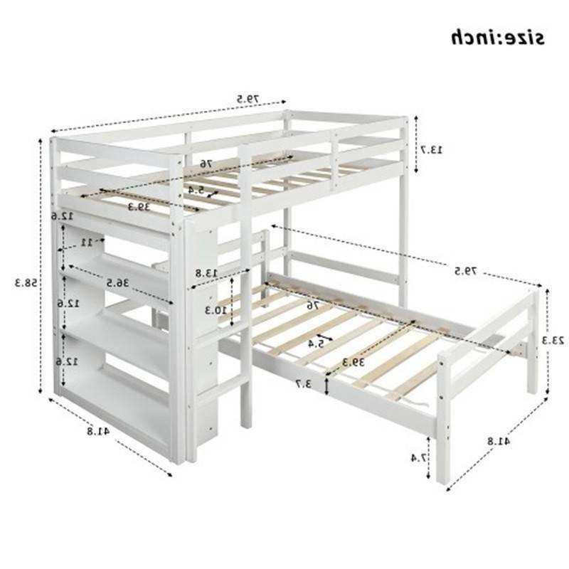 Twin over Twin Bed with White, With Ladder Safety US Popular