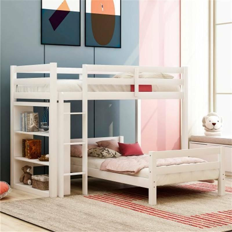 Twin over Bunk Bed with Shelves With US