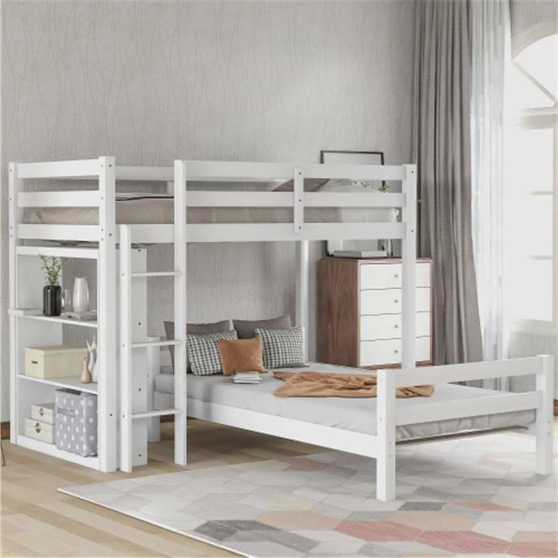 twin over twin bunk bed with shelves