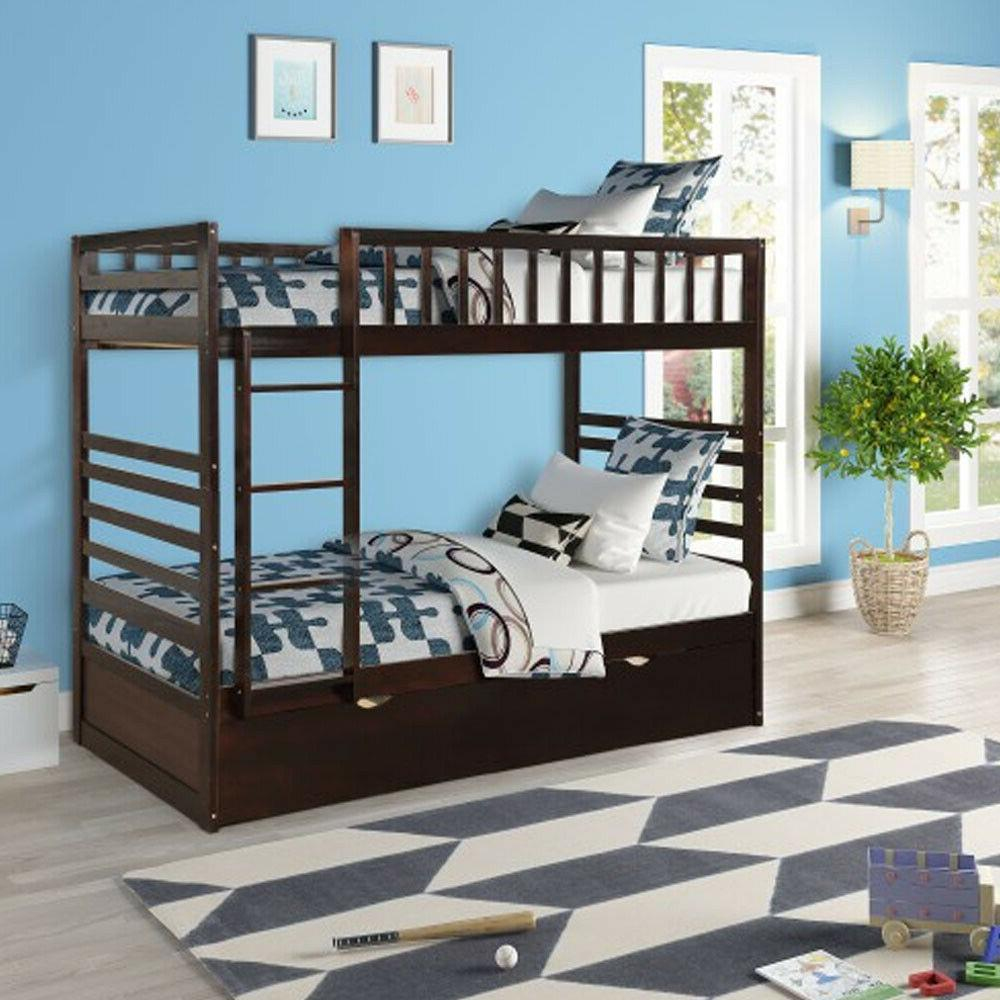 Twin Bed with Wood Bunk Bed Espresso