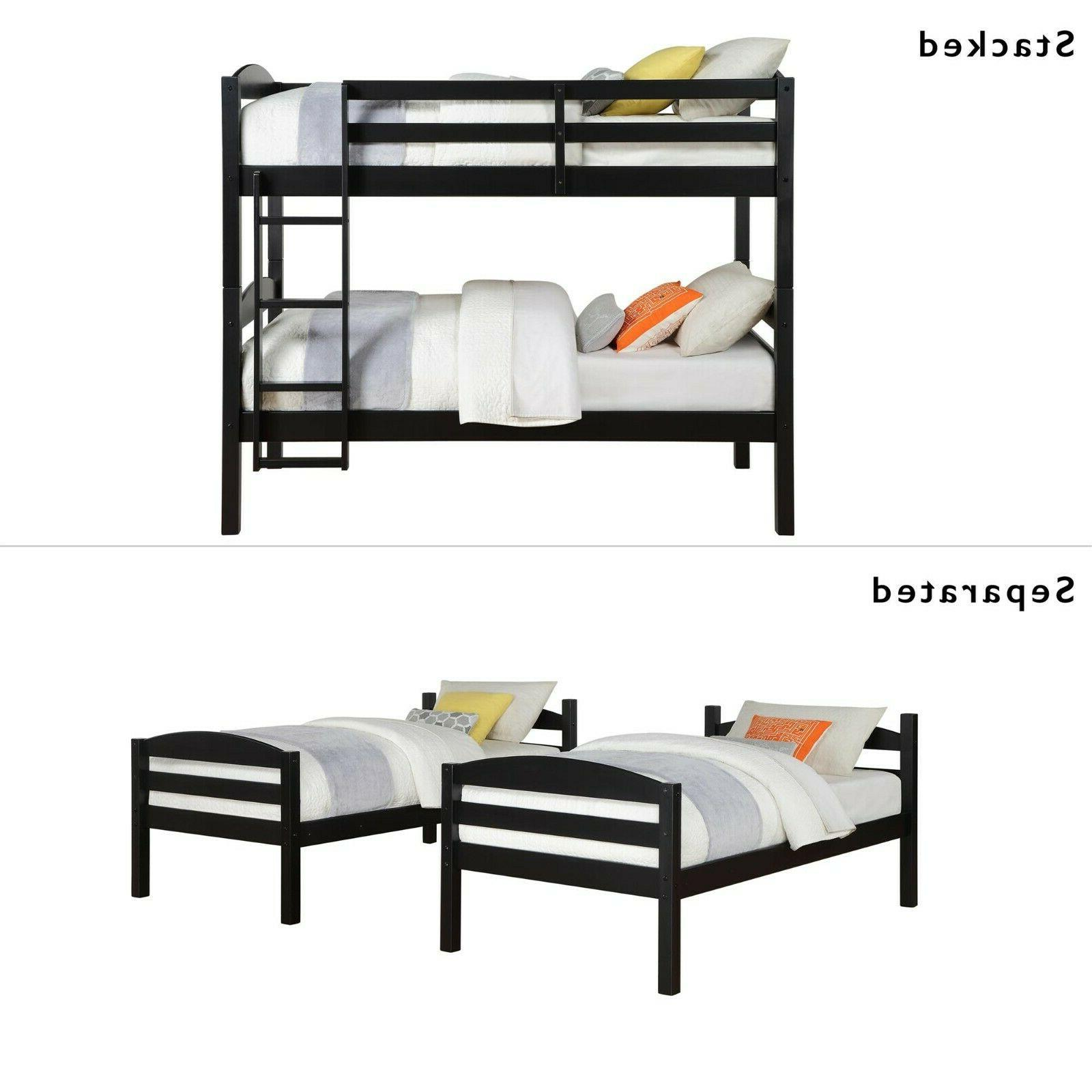 Twin Bunk Beds for Girls Boys Wood Ladder &