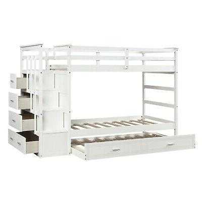 Twin Over Twin Beds Loft W/Drawers Bedroom Space Saving
