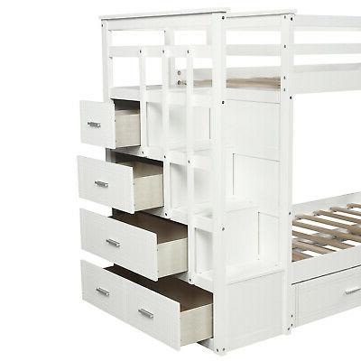 Bunk Beds Over Twin Beds Wood With Trundle&Storage Drawers Bedroom Set