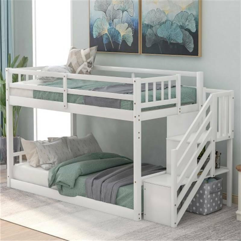 Twin Bunk Beds Kids with Ladder Bedroom Furniture Home