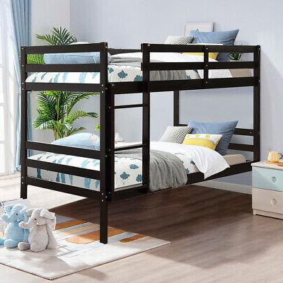 Twin Over Twin Wood Bunk Beds w/Ladder & Safety Rail Pine Wo