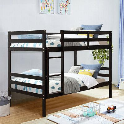 Twin Over Twin Wood Bunk Safety Bunk Bed Espresso