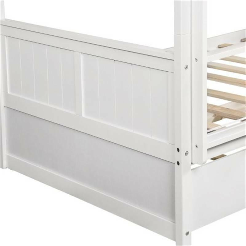 White Bunk w/Twin Size Trundle Ladder Frame