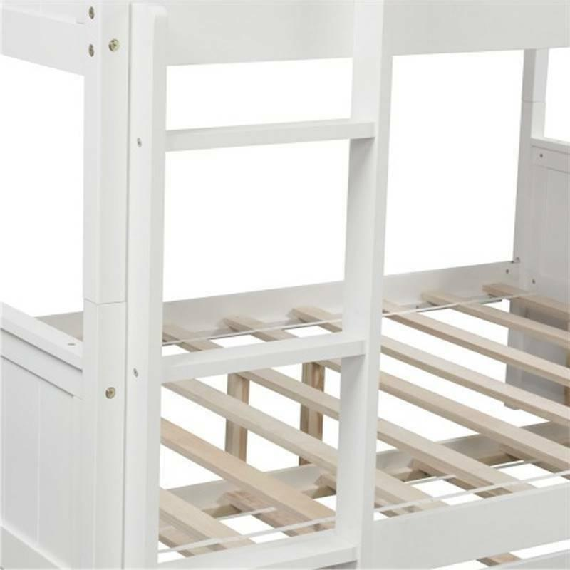 White Full Bunk Bed Trundle