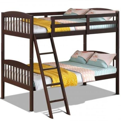 Wood Solid Hardwood Twin Bunk Beds Convertable Kids Ladder Safety Rail