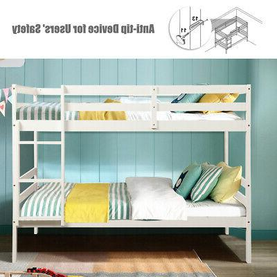 Wood Bed Twin Bunk Beds Kids Ladder and Safety Rail