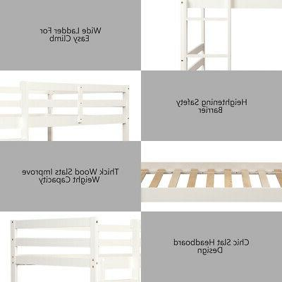 Wood Bunk Bed Twin Kids with Safety