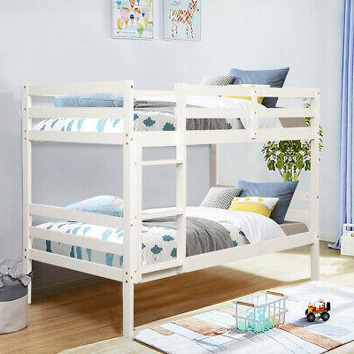 Wood Twin Beds Kids with Ladder and Safety White