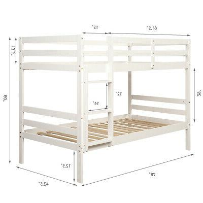 Wood Twin Bed Twin Bunk Kids with and Safety Rail White