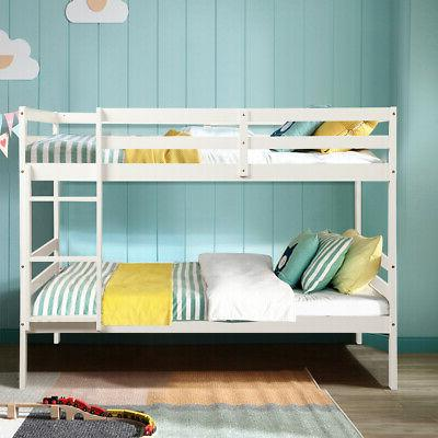 Wood Bunk Bed Twin Bunk Beds Kids with Safety Rail