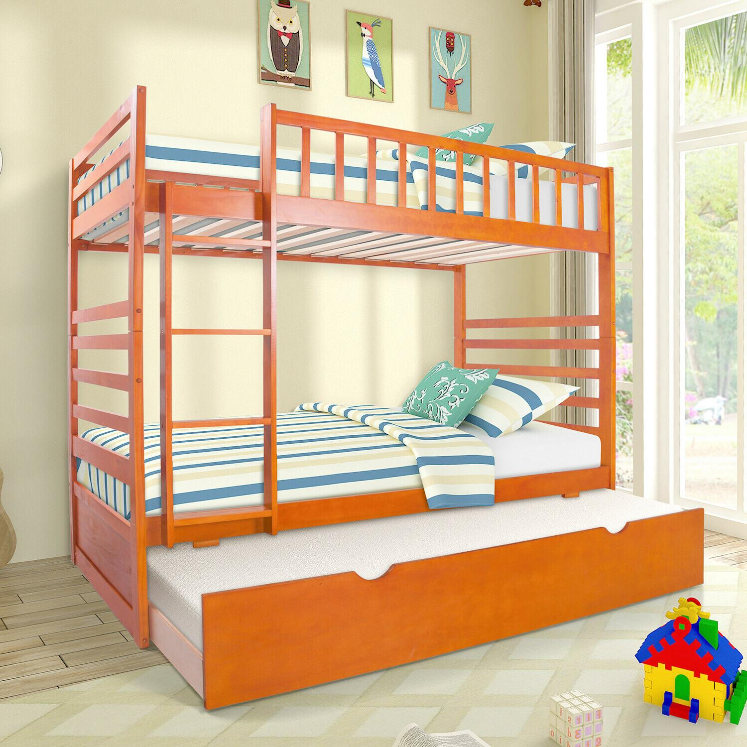 Wood Twin over Twin Bunk Bed Kids Wooden Bunk Beds with Trun