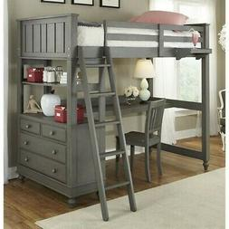 NE Kids Lake House Twin Loft Bed with Desk in Stone