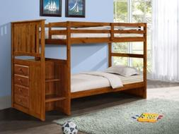 Loft Bunk Beds with Stairs and Built-in Dresser