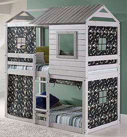 Donco Kids Loft-Style Light Grey Twin-over-Twin Bunk Bed wit