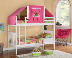 Low Loft Bed Tent Kit - Pink, White Wood, Bunk Bed Sold Sepa