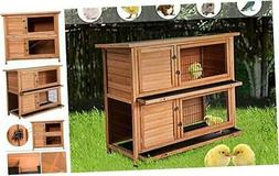 Merax Rabbit Hutch Wooden House Wooden Cage for Small Animal
