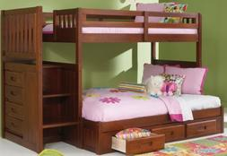 Merlot Twin Over Full Mission Staircase Bunk Bed with 3 Draw