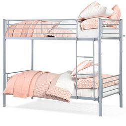 Metal Twin Over Twin Bunk Beds Frame Ladder Kids Adult Child