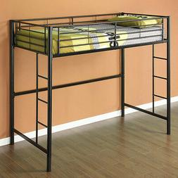 New TWIN Loft Bed in Black Metal Bunk - Great for dorm or ki