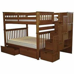 Bedz King Full Over Full Bunk Bed with Drawer