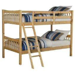 Rustic Solid Wood Twin Over Twin Bunk Beds ConvIrtable Kids