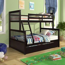 Solid Wood Bunk Bed Twin Over Twin Bunk Beds With Wooden Tru