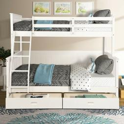 Wood Bunk Bed Twin over Full Kids Bunk Beds w/Ladder & Stora