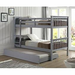 WE Furniture Solid Wood Twin Bunk Bed with Trundle Bed - Gra