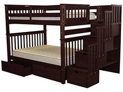 Stairway Bunk Bed Full over Full in Cappuccino with 4 Drawer