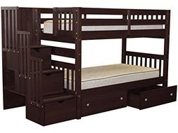 Twin Over Twin Bunk Bed with Drawer, Cappuccino