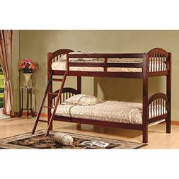 Twin Over Twin Bunk Beds - Cherry Finish, Constructed of Sol
