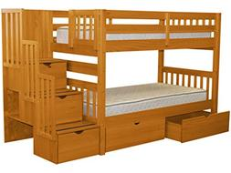 Twin Over Twin Bunk Bed with Drawer, Honey