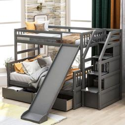 Twin Over Full Bunk Bed Kid Bunk Beds w/ Drawers Storage and