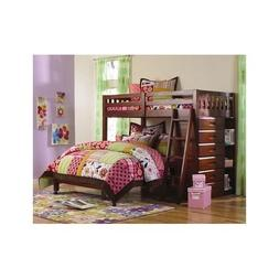 Twin Over Full Bunk Bed Storage With Ladder Bookshelves Draw