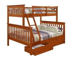 Twin over Full Bunk Beds for Kids with Storage Drawers