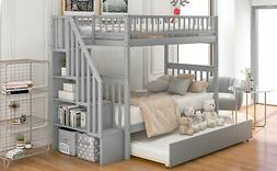 Twin Over Full Bunk Beds Kids Adult Wood Loft Bunk Beds Stor