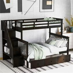 Twin Over Full Bunk Beds Kids Adult Wood Loft Bunk Bed W/Dra
