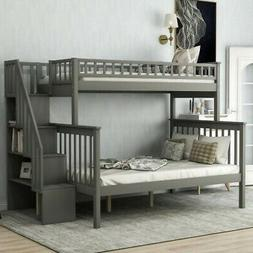 Twin Over Full Bunk Beds Kids Adult Wood Loft Bunk bed stora